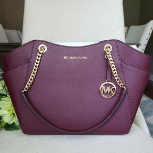 🌺NWT Michael Kors LG Chain Shoulder Bag merlot MK